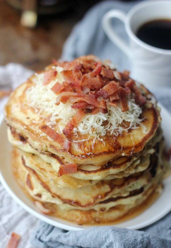 Savory Bacon Cheddar Pancakes   Baker Bettie