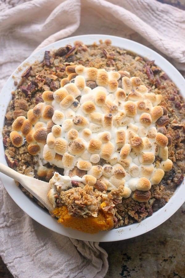 Butternut Squash Praline Casserole is a new take on a Thanksgiving classic! Roasted butternut squash is topped with a crunchy praline topping and toasted marshmallows! It is a new favorite in my household and will get rave reviews!
