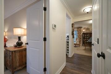 View from Bathroom Door to Bedroom and Foyer