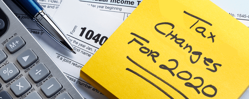 tax changes for 2020 written on sticky note