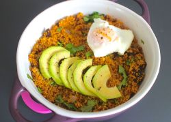 Baked Couscous w/ Avocado and a Poached Egg