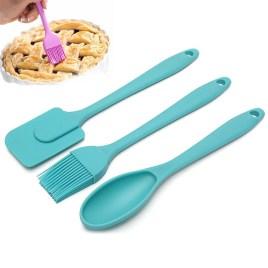 3PCS/Set Turquoise Silicone Spatula Spoon Set