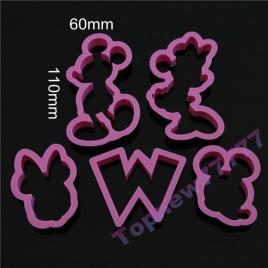 5pcs/set Cartoon Mickey Mouse Candy Cookie Cutter