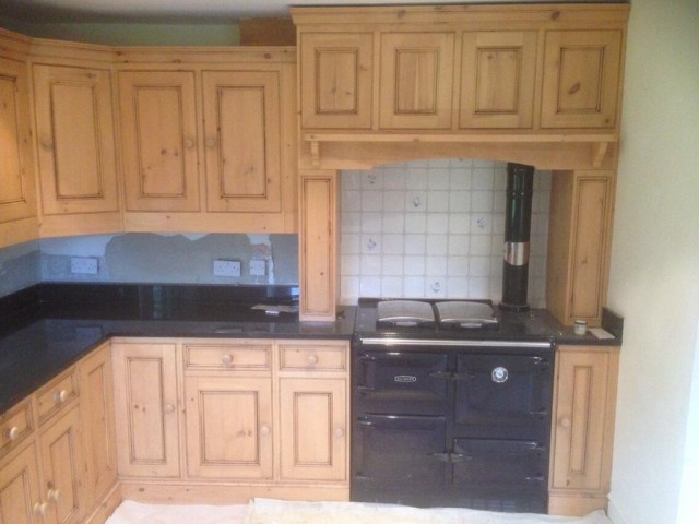 Before - Kitchen cabinet preparation and painting in Froxfield near Petersfield Hampshire - pine kitchen cabinets hand painted