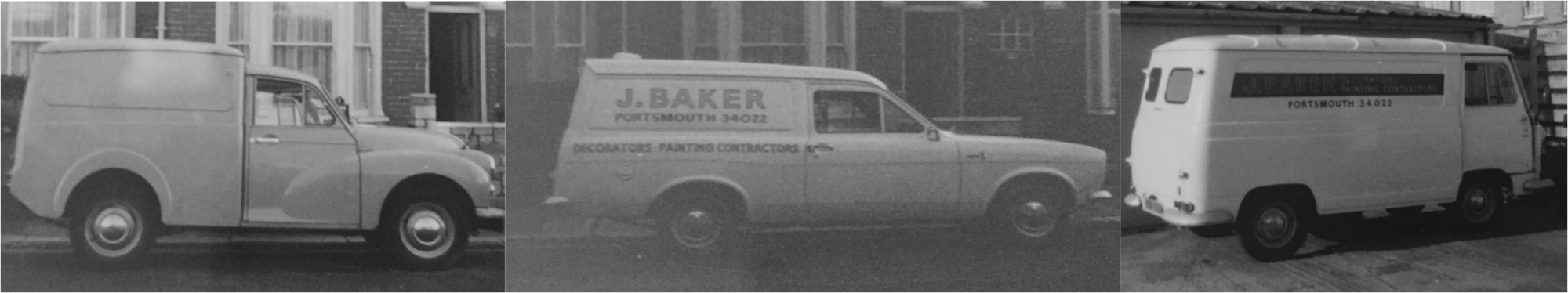 Old vans from Baker Southern Ltd Portsmouth Based specialist decorators established in 1969 in Southsea Hampshire