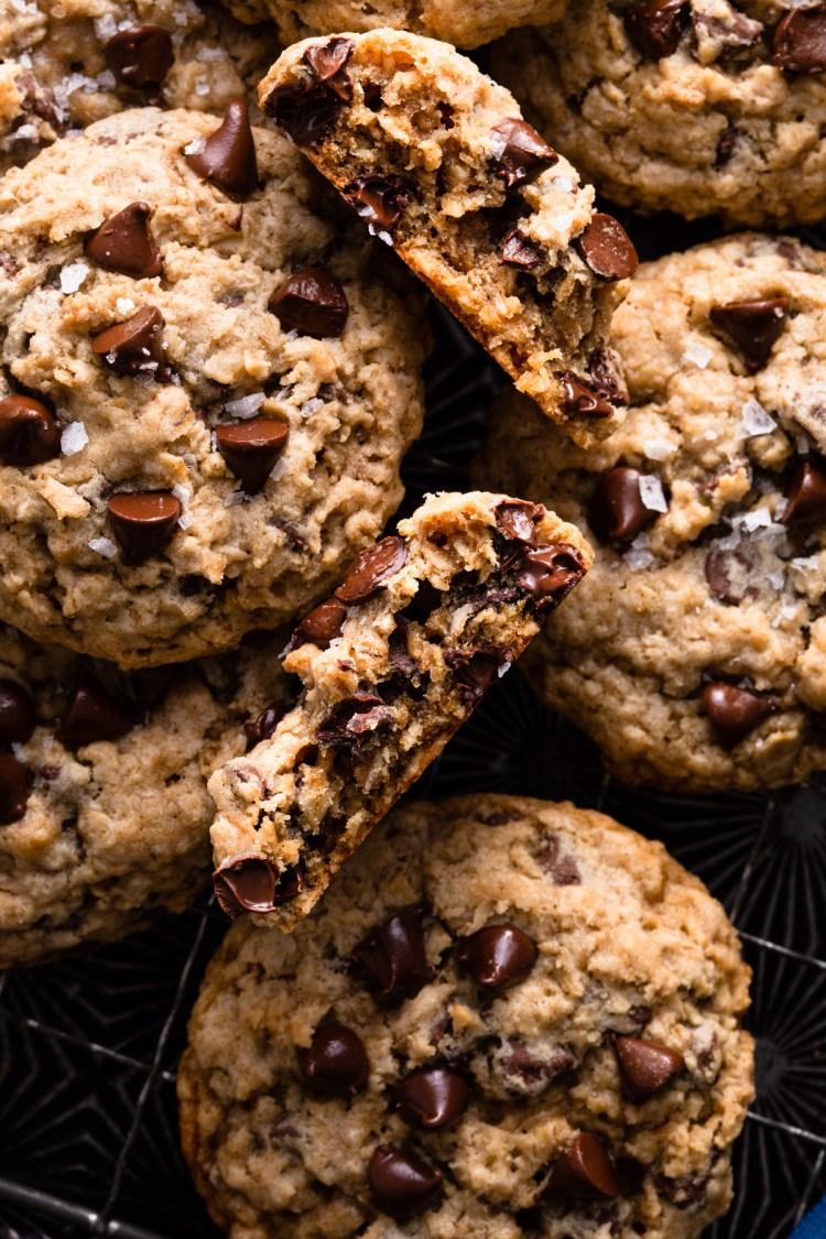 oatmeal chocolate chip cookie broken open