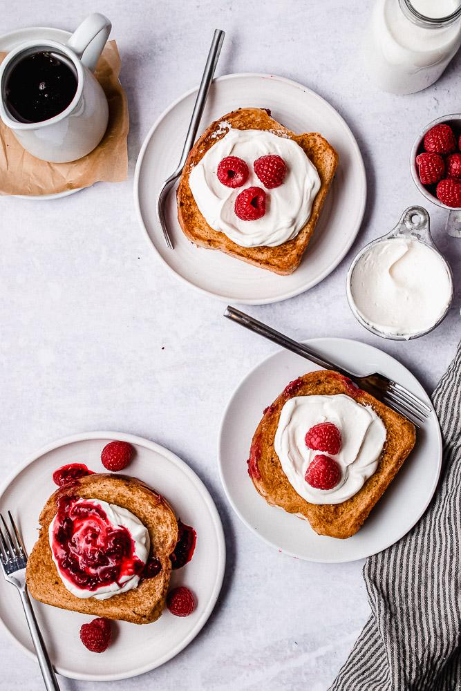flatlay of raspberry stuffed french toast