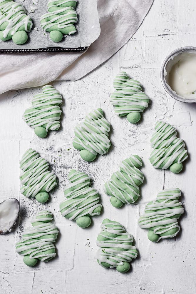 flat lay of lime twist tree cookies