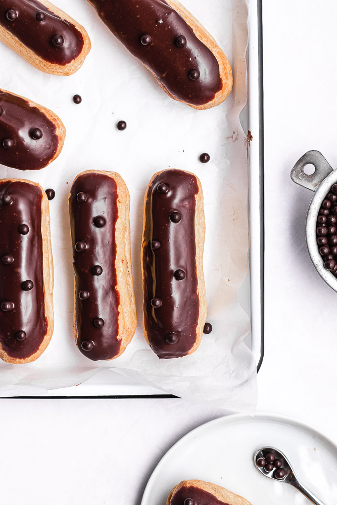 flat lay of French eclairs