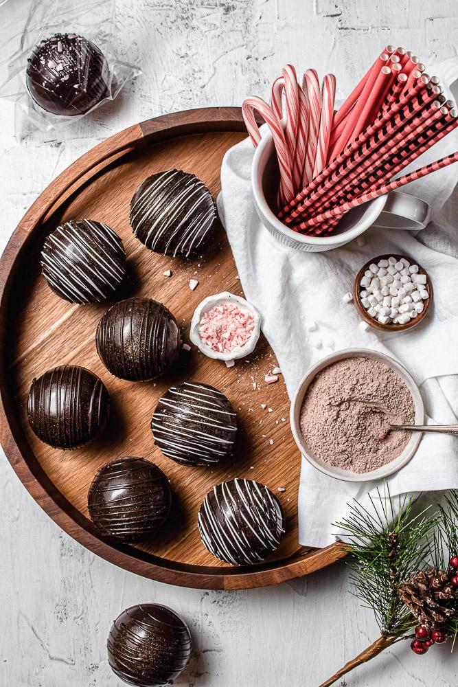 chocolate bombs on a tray
