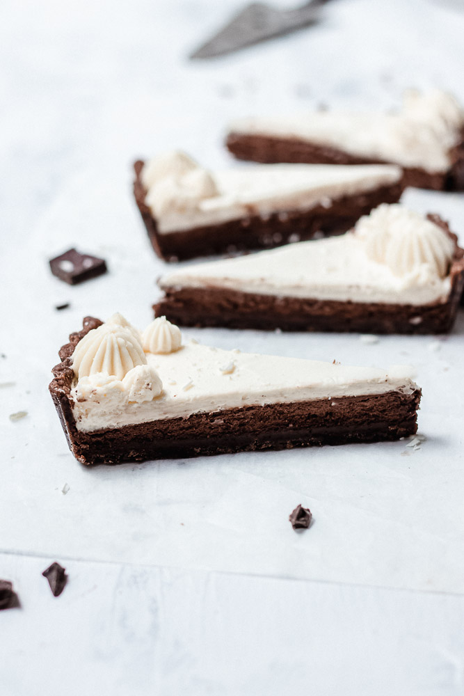 triple chocolate mousse tart slices