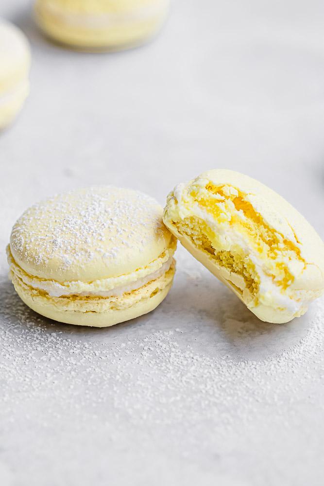 close up of macaron with bite taken