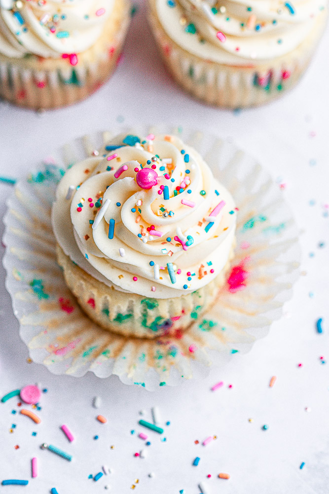 funfetti cupcake with liner off