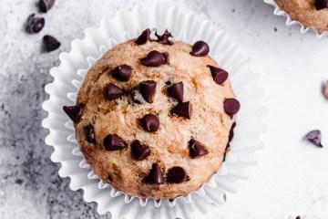 one banana muffin with mini chocolate chips