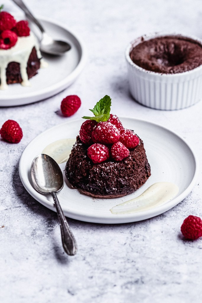 Molten chocolate lava cakes with raspberries