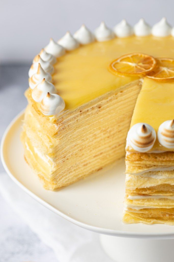 inside view of crepe cake with lemon curd