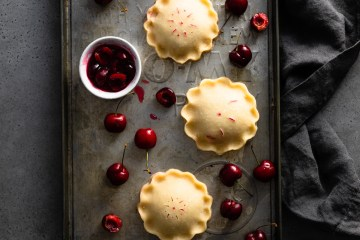 flatlay of cherry hand pies