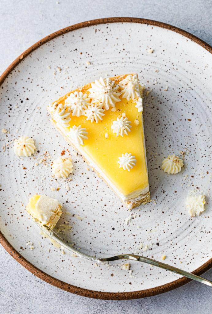 slice of mascarpone tart with lemon curd