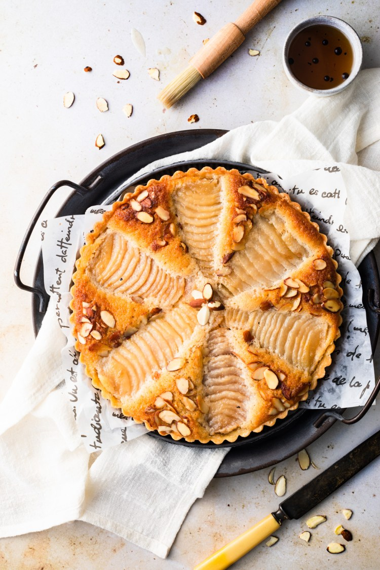 pear frangipane tart with slivered almonds