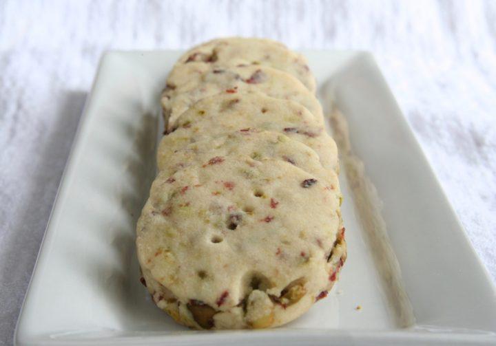 Cranberry and Pistachio Shortbread Cookies