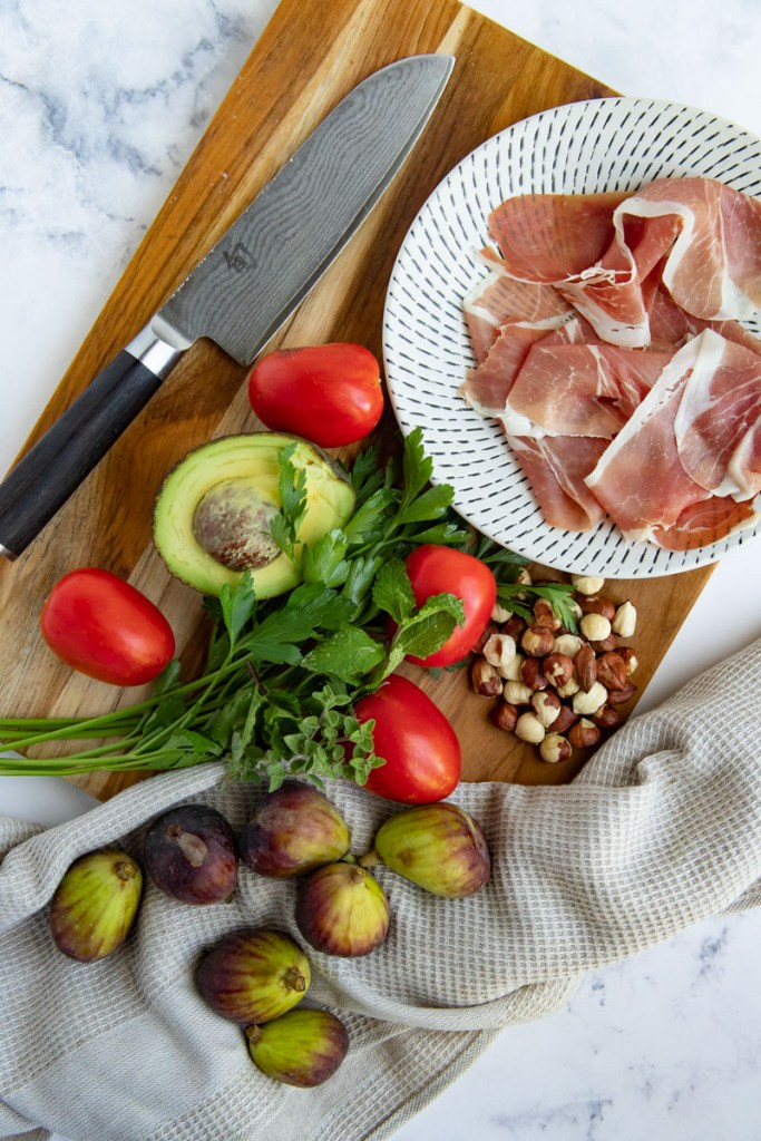 Salad Ingredients - Prosciutto, Avocado, Tomatoes, Figs, Toasted Hazelnuts