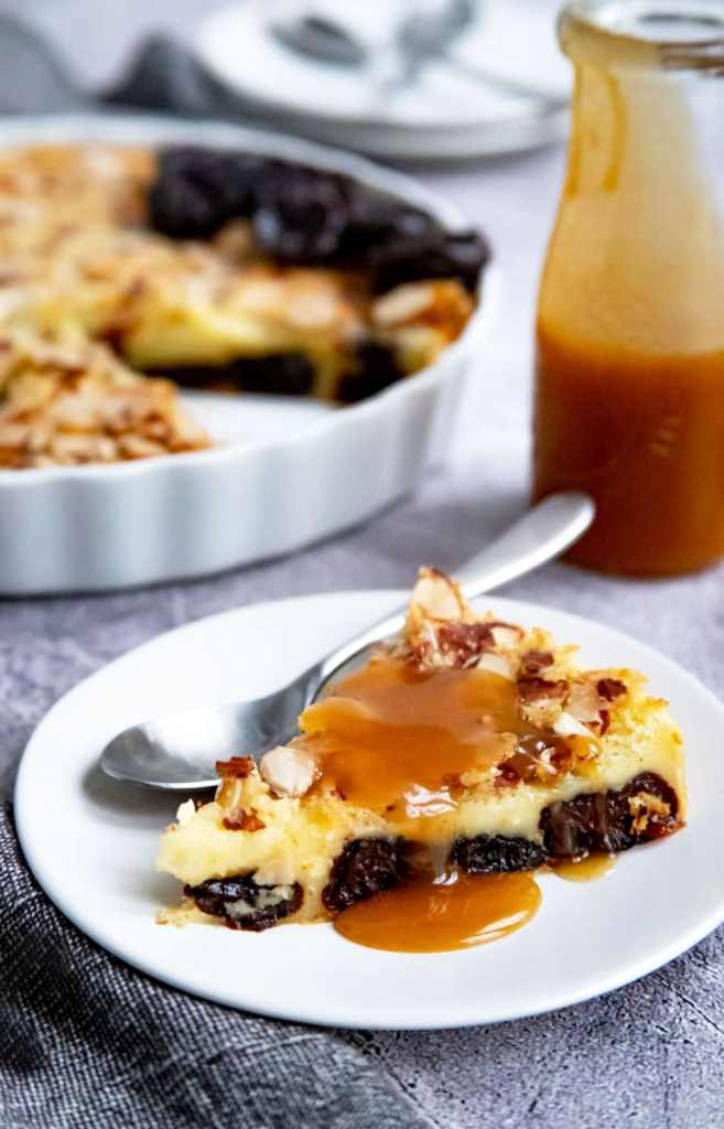 Prune Clafoutis with Apple Caramel Sauce