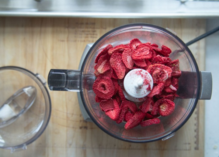 Freeze-Dried Strawberries in Food Processor