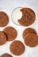 Cocoa Molasses Spice Cookies with a glass of milk
