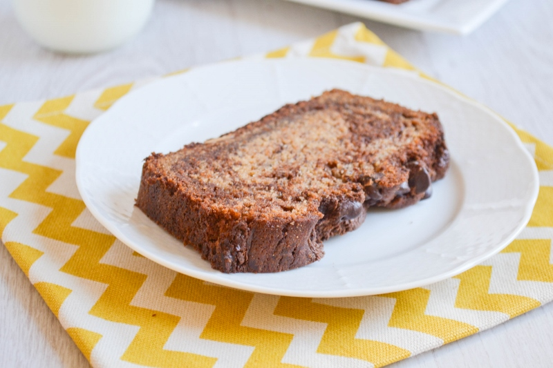 Chocolate Peanut Butter Swirl Banana Bread