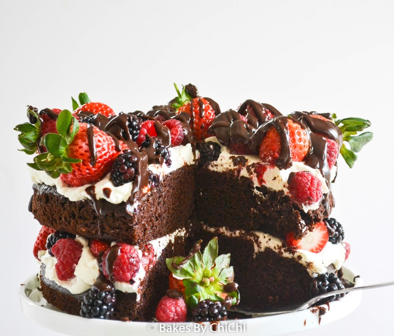 Chocolate Cake with Mascarpone Cream & Mixed Berries