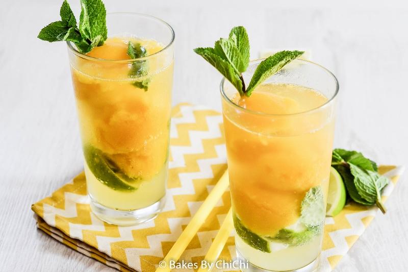 Mango Mojito Sorbet Floats