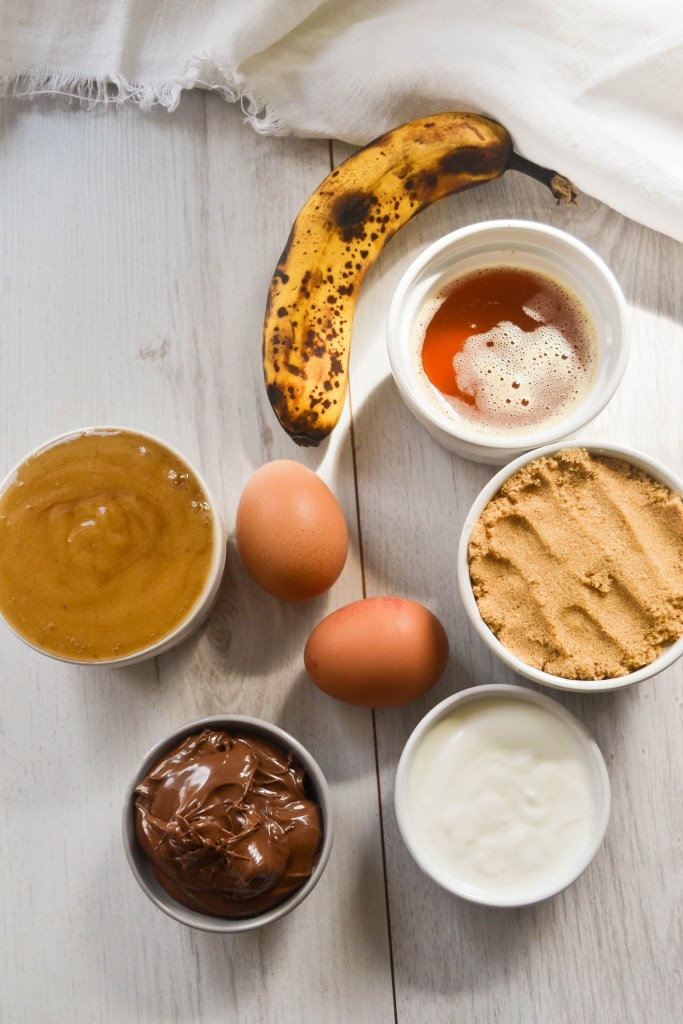 Ingredients for Nutella and Banana Swirl Muffins