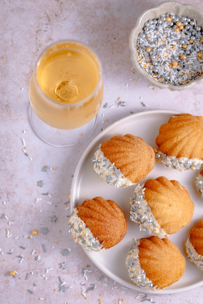 White Chocolate Dipped French Madeleines