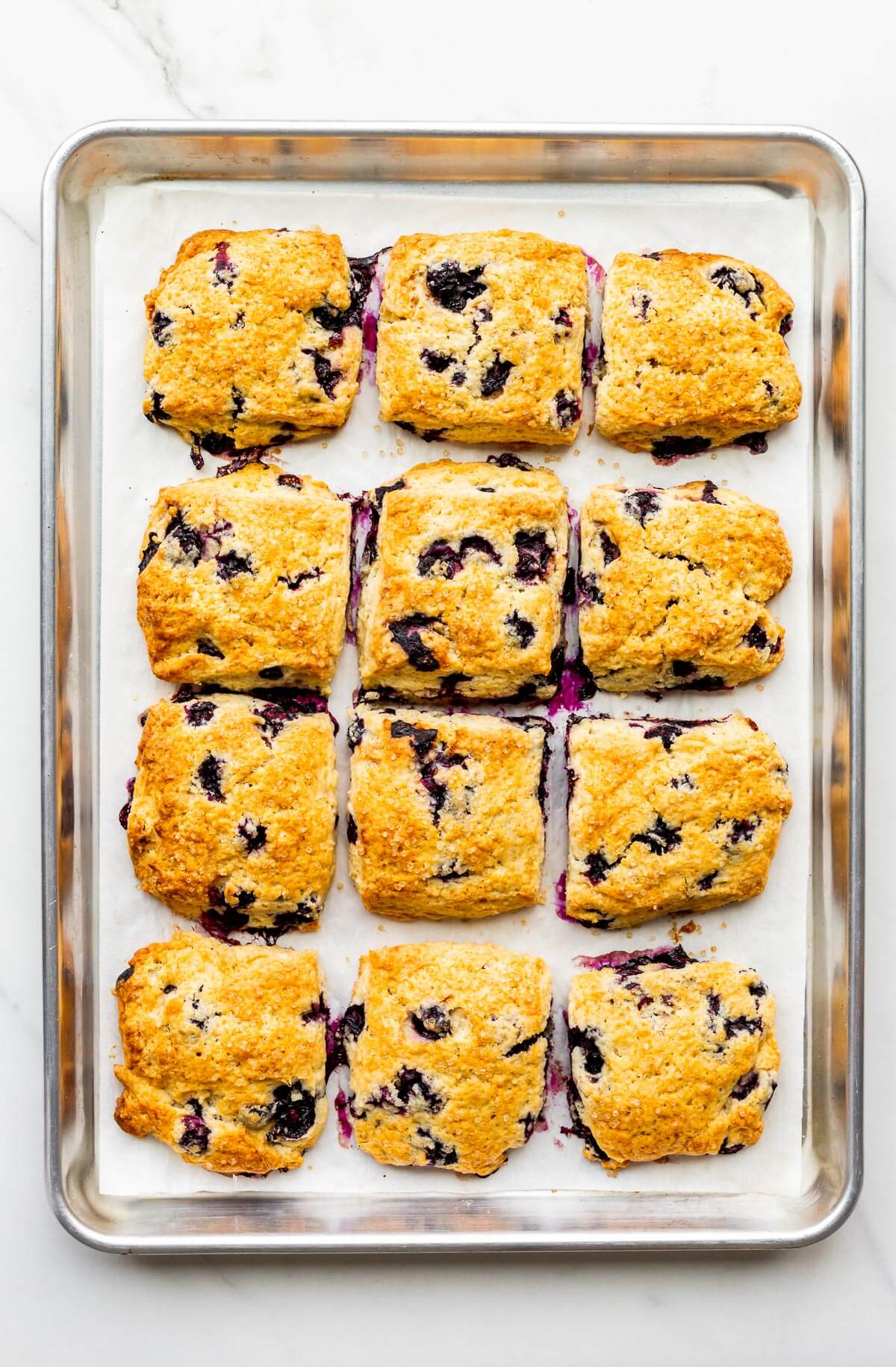 A sheet pan of freshly baked scones with blueberries.