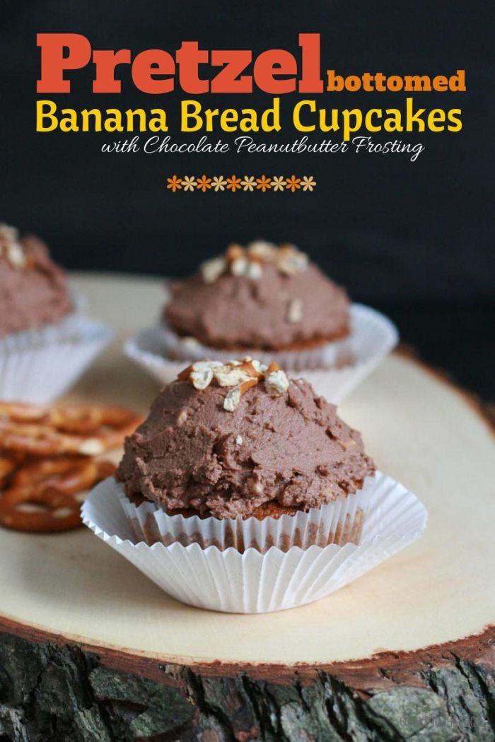 Pretzel Bottomed Banana Bread Cupcakes | Bake to the roots
