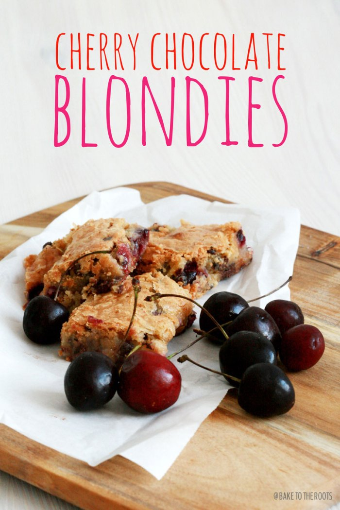 Cherry Chocolate Blondies | Bake to the roots