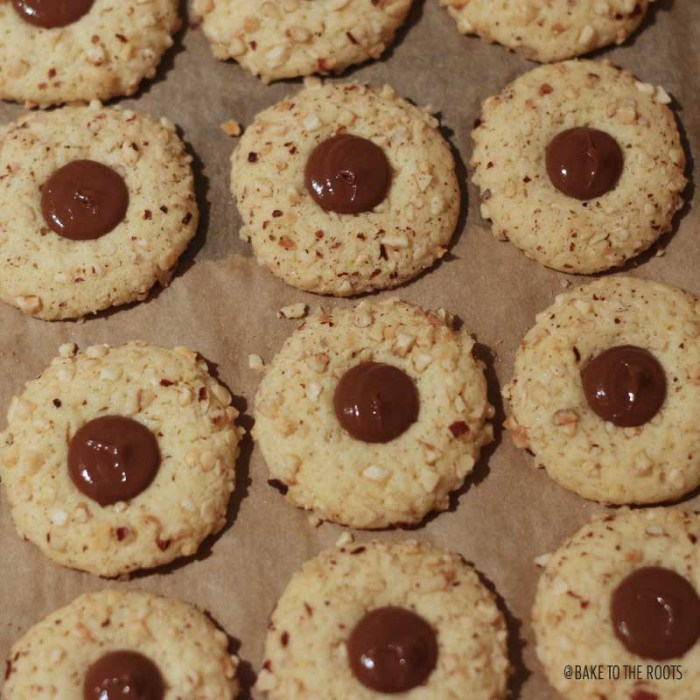 Hazelnut Nougat Thumbprint Cookies | Bake to the roots