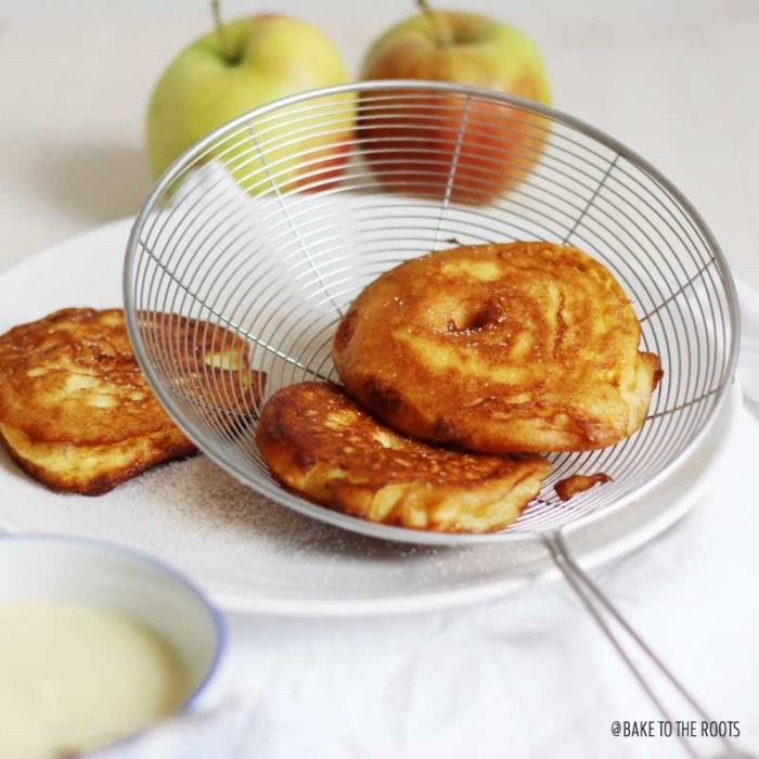Schwäbische Apfelküchle mit Vanillesoße aka. Apple Fritters   Bake to the roots