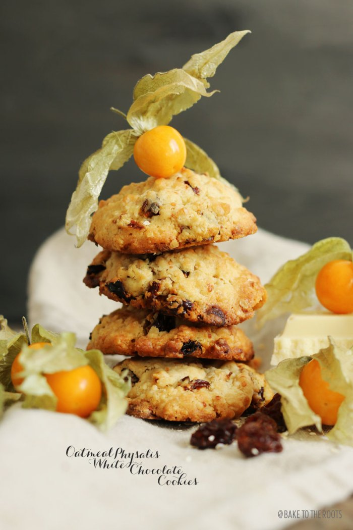 Oatmeal Physalis White Chocolate Cookies | Bake to the roots