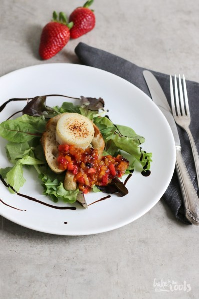 Flambéed Goat Cheese with Strawberry Salsa   Bake to the roots