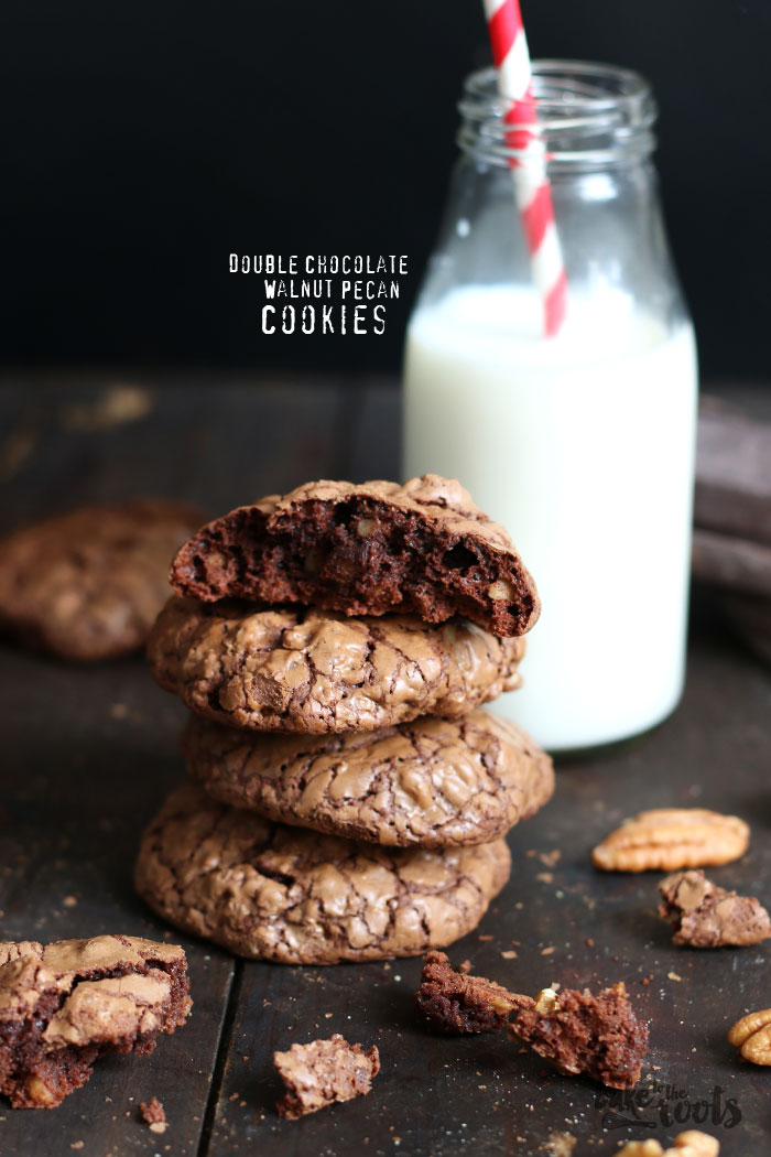 Double Chocolate Walnut Pecan Cookies | Bake to the roots