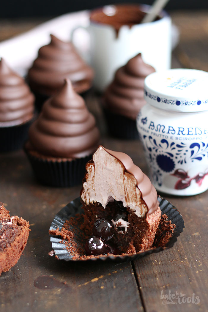 Chocolate Amarena Cherry Hi-Hat Cupcakes | Bake to the roots