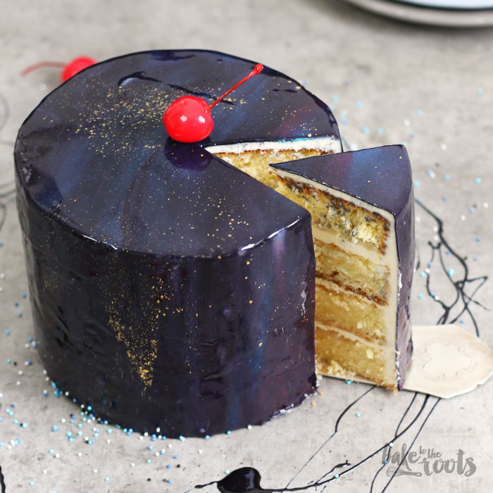 Galaxy Cake Mit Mirror Glaze Spiegelglasur Bake To The Roots