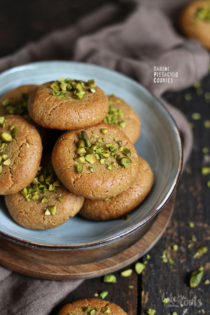 Tahini Pistachio Cookies | Bake to the roots