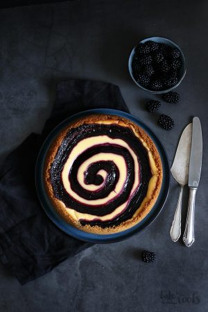 White Chocolate Cheesecake with Blackberry Swirl