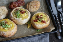 Bacon & Egg Bread Bowls | Bake to the roots
