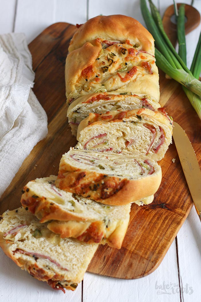 Pull Apart Bread with Salami & Cheese | Bake to the roots