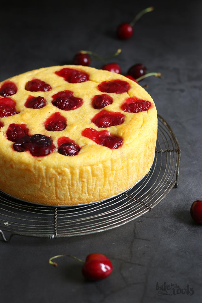 Lemon Ricotta Polenta Cake with Cherries | Bake to the roots