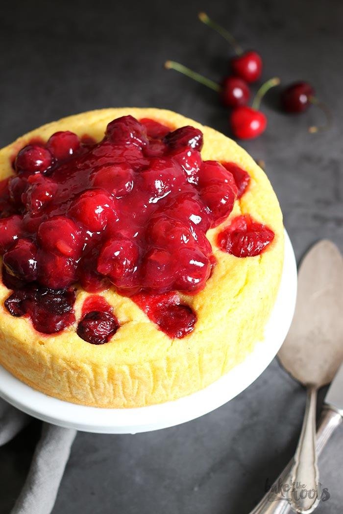 Lemon Ricotta Polenta Cake with Cherries   Bake to the roots