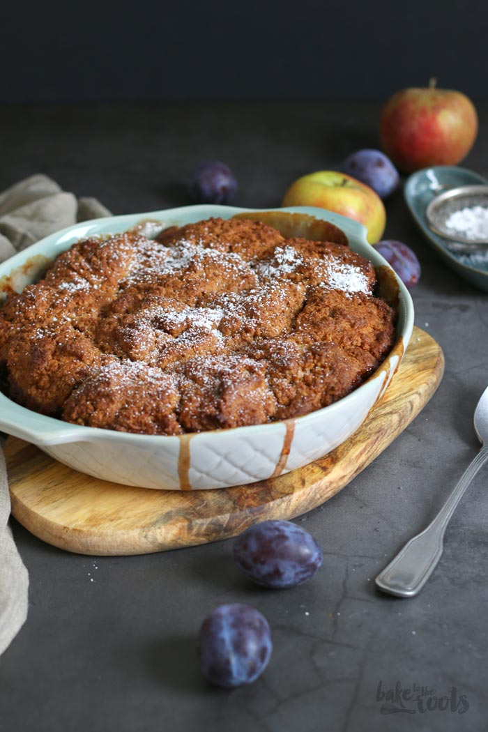 (Wholemeal) Damson Plum Apple Cobbler | Bake to the roots